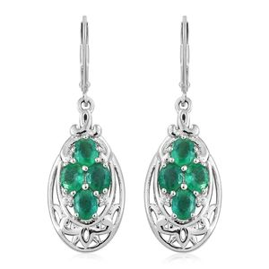 Brazilian Emerald, Cambodian Zircon Platinum Over Sterling Silver Lever Back Earrings TGW 2.90 cts.