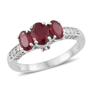 Niassa Ruby, Cambodian Zircon Platinum Over Sterling Silver Crown Ring (Size 5.0) TGW 2.85 cts.