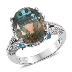 Aqua Terra Costa Quartz, Multi Gemstone Platinum Over Sterling Silver Ring (Size 10.0) TGW 11.45 cts.