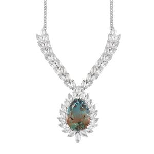 Aqua Terra Costa Quartz, White Topaz Platinum Over Sterling Silver Necklace (18 in) TGW 21.85 cts.