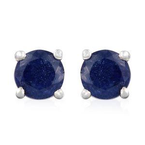 Masoala Sapphire Platinum Over Sterling Silver Earrings TGW 0.75 cts.