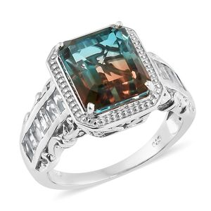 Aqua Terra Costa Quartz, White Topaz Platinum Over Sterling Silver Ring (Size 7.0) TGW 9.55 cts.