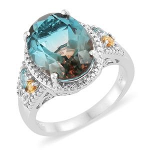 Aqua Terra Costa Quartz, Multi Gemstone Platinum Over Sterling Silver Ring (Size 6.0) TGW 10.23 cts.