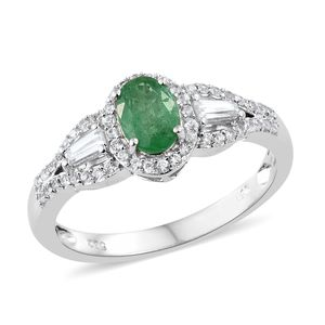 Brazilian Emerald, Cambodian Zircon Platinum Over Sterling Silver Ring (Size 7.0) TGW 1.48 cts.