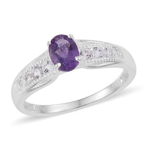 Amethyst, White Topaz Sterling Silver Ring (Size 7.0) TGW 1.00 cts.