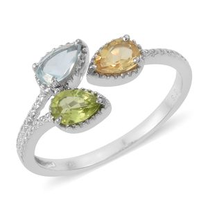 Multi Gemstone Platinum Over Sterling Silver Open Ring (Size 7.0) TGW 1.31 cts.