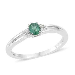 Brazilian Emerald, Cambodian Zircon Platinum Over Sterling Silver Ring (Size 5.0) TGW 0.36 cts.