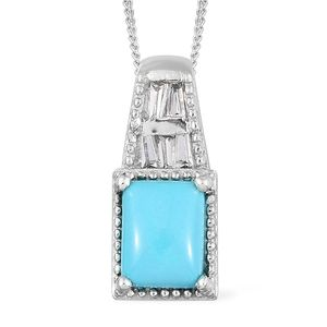 Arizona Sleeping Beauty Turquoise, White Topaz Platinum Over Sterling Silver Pendant With Chain (20 in) TGW 1.41 cts.