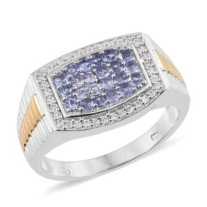 Tanzanite, Cambodian Zircon 14K YG and Platinum Over Sterling Silver Men's Cluster Signet Ring (Size 11.0) TGW 1.34 cts.