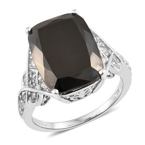 Shungite, White Topaz Platinum Over Sterling Silver Ring (Size 7.0) TGW 10.40 cts.
