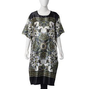 Black 100% Polyester Floral Paisley Pattern Kaftan (One Size)