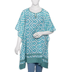 Turquoise Hand Screen Printed Kaftan (35x41 in, 100% Cotton)
