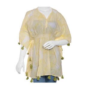 Yellow MARIE KAFTAN Hand Screen Printed (31x41 in, 100% Cotton)