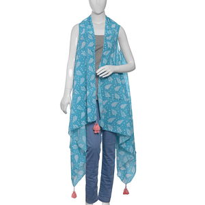 Holly Pareo - Blue 100% Cotton Hand Screen Printed Shrug (One Size)