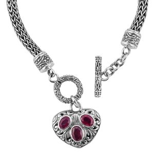 Bali Legacy Collection Niassa Ruby Sterling Silver Bracelet (7.50 In) TGW 2.25 cts.