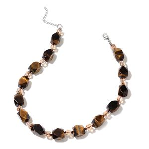 South African Tigers Eye, Champagne Glass Beads Silvertone Necklace (18 in) TGW 440.00 cts.