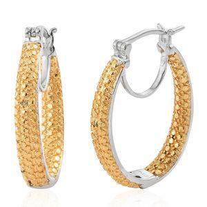KARIS Collection - Yellow Diamond (IR) Platinum Bond Brass Accent Hoop Earrings