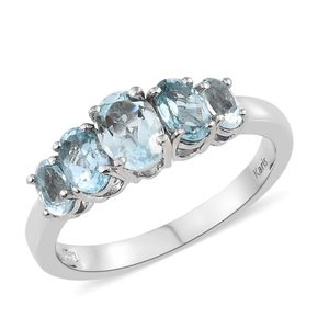 KARIS Collection - Sky Blue Topaz Platinum Bond Brass 5 Stone Ring (Size 7.0) TGW 2.50 cts.