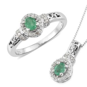 Brazilian Emerald, Cambodian Zircon Platinum Over Sterling Silver Ring (Size 8) and Pendant With Chain (20 in) TGW 1.10 cts.