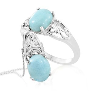 Larimar Platinum Over Sterling Silver Ring (Size 9) and Pendant With Chain (20 in) TGW 5.60 cts.
