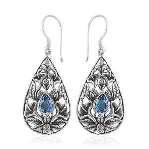 Bali Legacy Collection Blue Topaz Sterling Silver Earrings TGW 2.96 cts.
