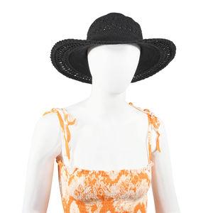 Black Weave Crochet Pattern Cotton Beach Hat (One Size)