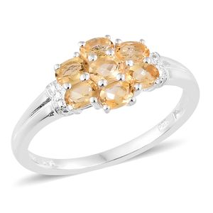 Brazilian Citrine Sterling Silver 7 Stone Ring (Size 5.0) TGW 1.05 cts.