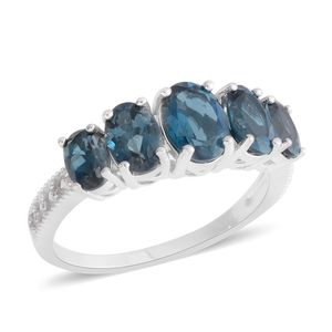 London Blue Topaz, White Zircon Sterling Silver Ring (Size 5.0) TGW 4.90 cts.