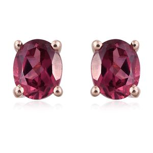 Tanzanian Pink Garnet 14K RG Over Sterling Silver Stud Earrings TGW 0.92 cts.