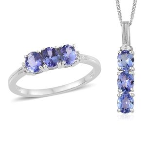 Tanzanite, Cambodian Zircon Platinum Over Sterling Silver Trilogy Ring (Size 6) and Pendant With Chain (20 in) TGW 2.25 cts.