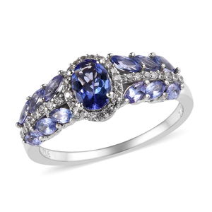 Tanzanite, Cambodian Zircon Platinum Over Sterling Silver Ring (Size 5.0) TGW 2.01 cts.
