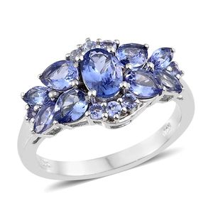 Tanzanite Platinum Over Sterling Silver Ring (Size 8.0) TGW 2.93 cts.