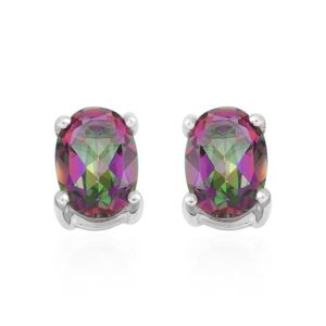 Northern Lights Mystic Topaz Sterling Silver Oval Stud Earrings TGW 1.88 cts.