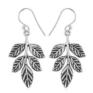 Sterling Silver Leaf Dangle Earrings (5.54 g)