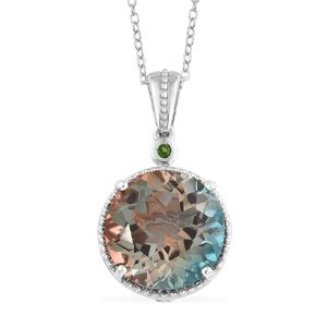 Aqua Terra Costa Quartz, Multi Gemstone Platinum Over Sterling Silver Pendant With Chain (20 in) TGW 10.62 cts.