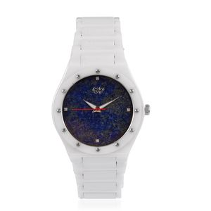 GP Lapis Lazuli, Diamond Accent Swiss Movement Watch with White Ceramic Band and Stainless Steel Back TGW 417.52 cts.
