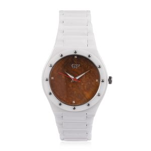 GP White Ceramic, Tigers Eye, Diamond Accent Swiss Movement Water Resistant Watch with Stainless Steel Back TGW 417.52 cts.