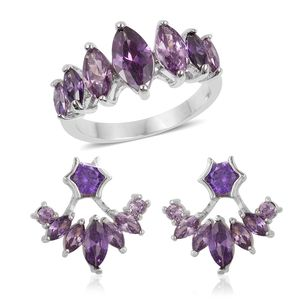 Simulated Purple Diamond Silvertone Ear Jacket Earrings and Ring (Size 7) TGW 3.50 cts.