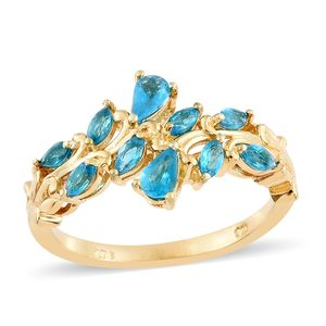 Malgache Neon Apatite Vermeil YG Over Sterling Silver Ring (Size 7.0) TGW 1.01 cts.