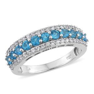 Malgache Neon Apatite, Cambodian Zircon Platinum Over Sterling Silver Ring (Size 7.0) TGW 1.56 cts.