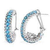 Malgache Neon Apatite Platinum Over Sterling Silver Omega Clip Earrings TGW 4.14 cts.