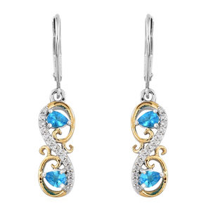 Malgache Neon Apatite, Cambodian Zircon 14K YG and Platinum Over Sterling Silver Lever Back Earrings TGW 0.82 cts.