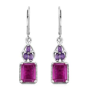 Radiant Orchid Quartz, Amethyst Platinum Over Sterling Silver Earrings TGW 6.14 cts.