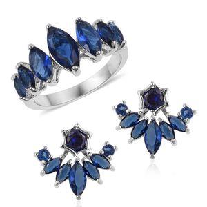 Blue Glass Silvertone Ear Jacket Earrings and Ring (Size 7)
