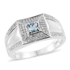 Espirito Santo Aquamarine, Cambodian Zircon Platinum Over Sterling Silver Men's Ring (Size 10.0) TGW 0.95 cts.