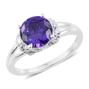 Simulated Amethyst, Simulated Diamond Sterling Silver Split Ring (Size 7.0) TGW 4.40 cts.