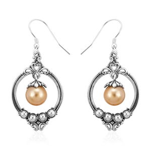 Bali Legacy Collection South Sea Golden Pearl (8 mm) Sterling Silver Inner Drop Earrings