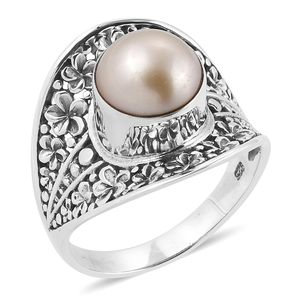 Bali Legacy Collection South Sea Golden Pearl (9 mm) Sterling Silver Concave Floral Ring (Size 7.0)