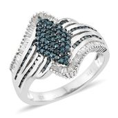 TLV Diamond, Blue Diamond (IR) Blue Rhodium & Platinum Over Sterling Silver Ring (Size 7.0) TDiaWt 1.00 cts, TGW 1.00 cts.