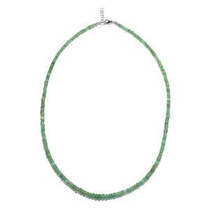 Brazilian Emerald Faceted Beads Sterling Silver Necklace (18 in) TGW 50.00 cts.